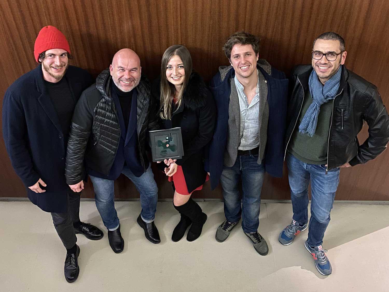 MV Agusta designers Alessio Ghiselli, Adrian Morton, Lucia d'Apote, Teodoro Ragazzi, and Angelo di Michele.
