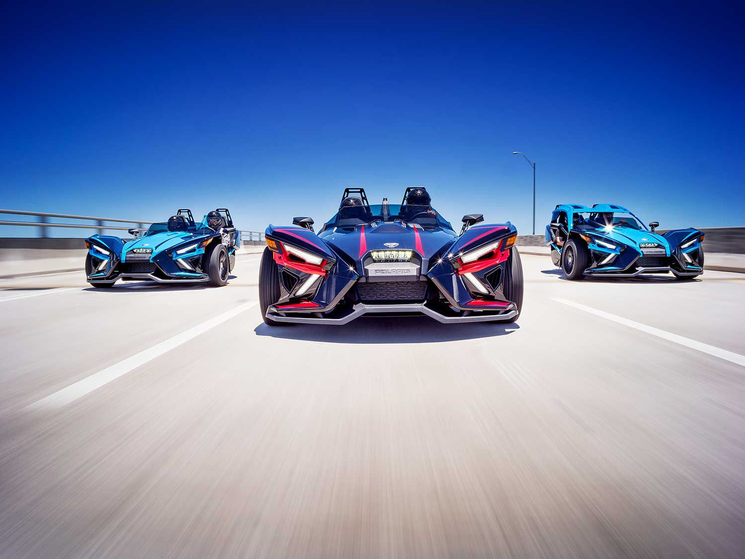 The latest Slingshot's aggro styling is a tad less controversial—but still distinctive—in the updated lineup.