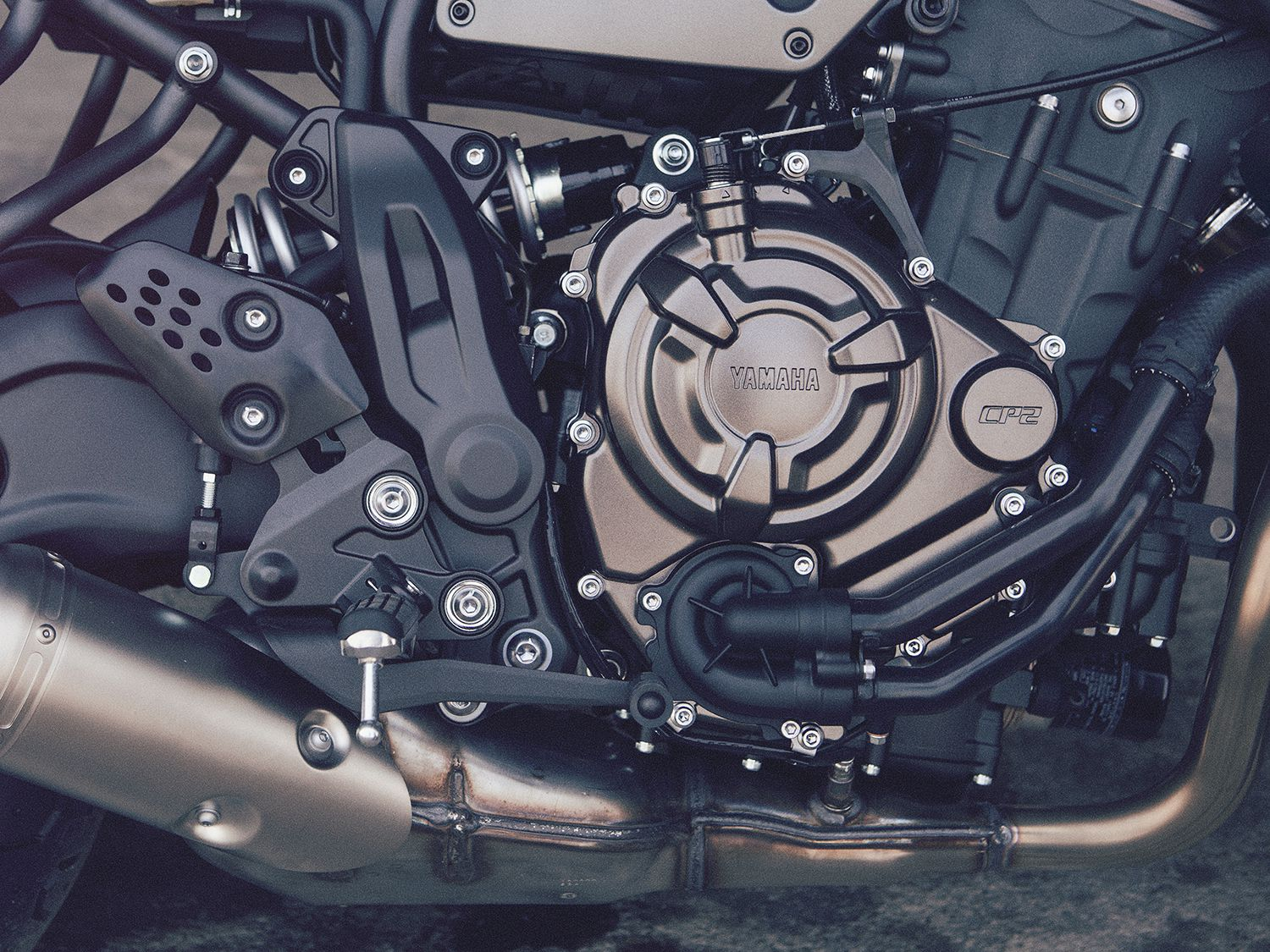 A 689cc inline-twin sits at the heart of the XSR700 as a stressed member of the frame.