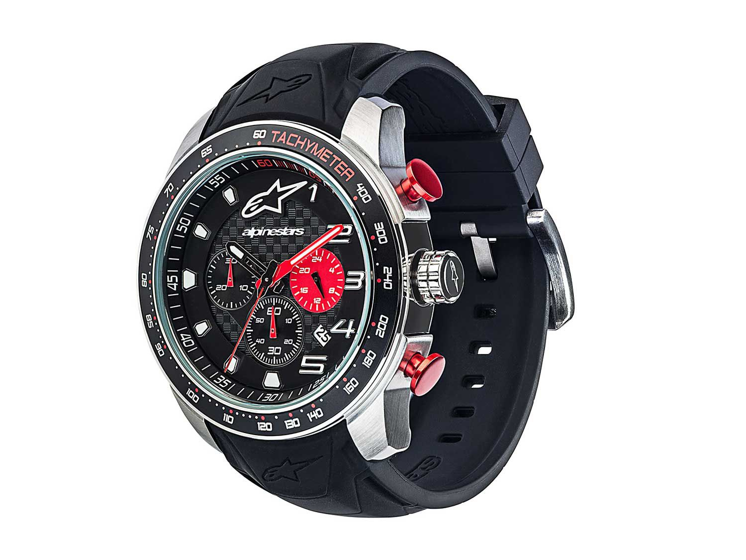 """A new <a  href=""""https://www.alpinestars.com/tech-watch-racing-timer-black-steel"""">Tech Watch</a> is equipped with a racing timer and features an integrated silicone strap, 45mm stainless steel case that's water resistant up to 328 feet."""