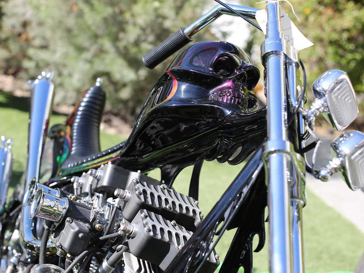 Expensive Trash brought out this skull molded Born-Free Shovelhead and debuted its new Panhead chopper.