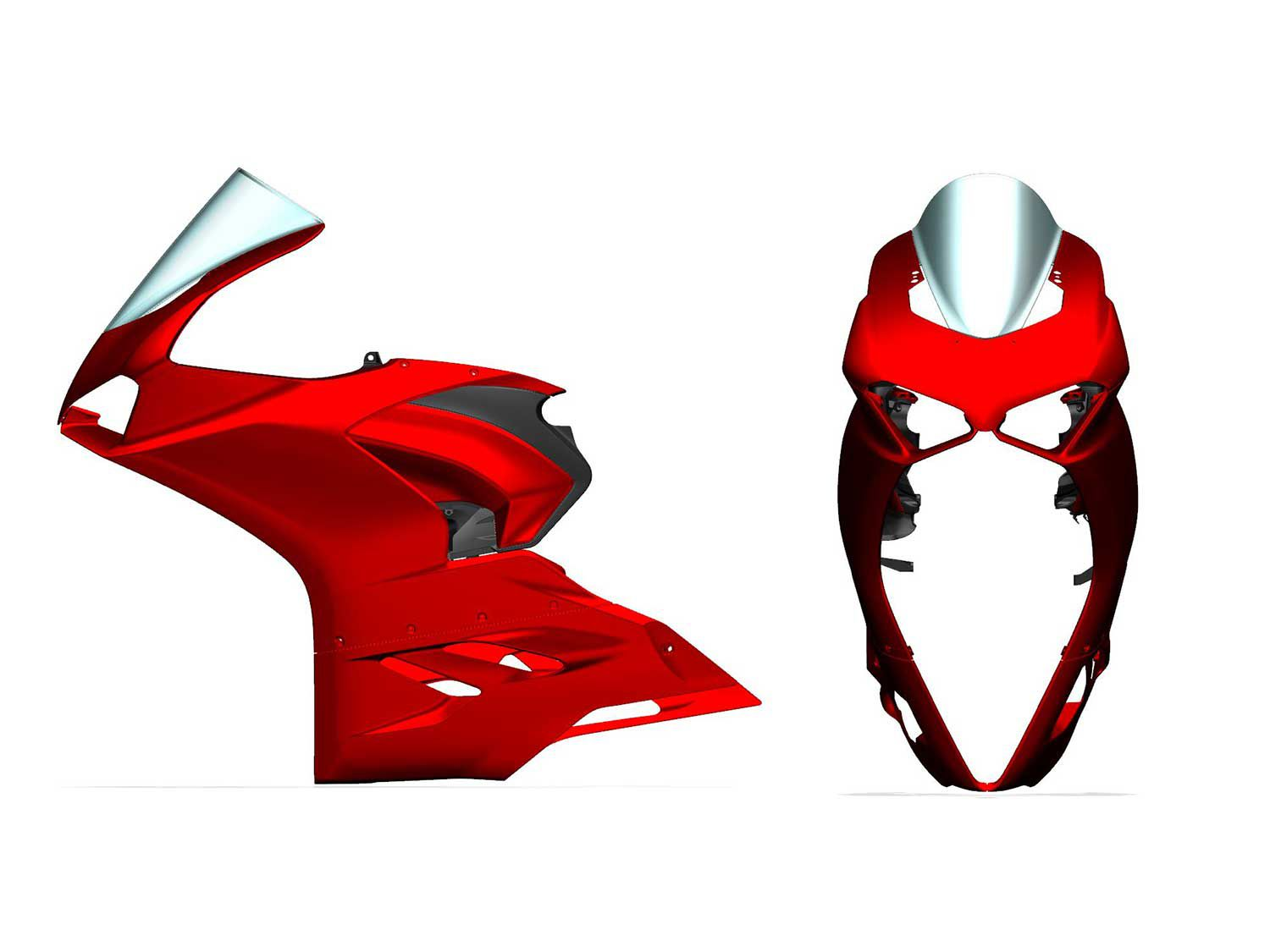 A computer-generated drawing of the Panigale V2's skin shows the two layers of bodywork around the frame, and the large inlets that house the LED headlights as well as acting as air inlets.