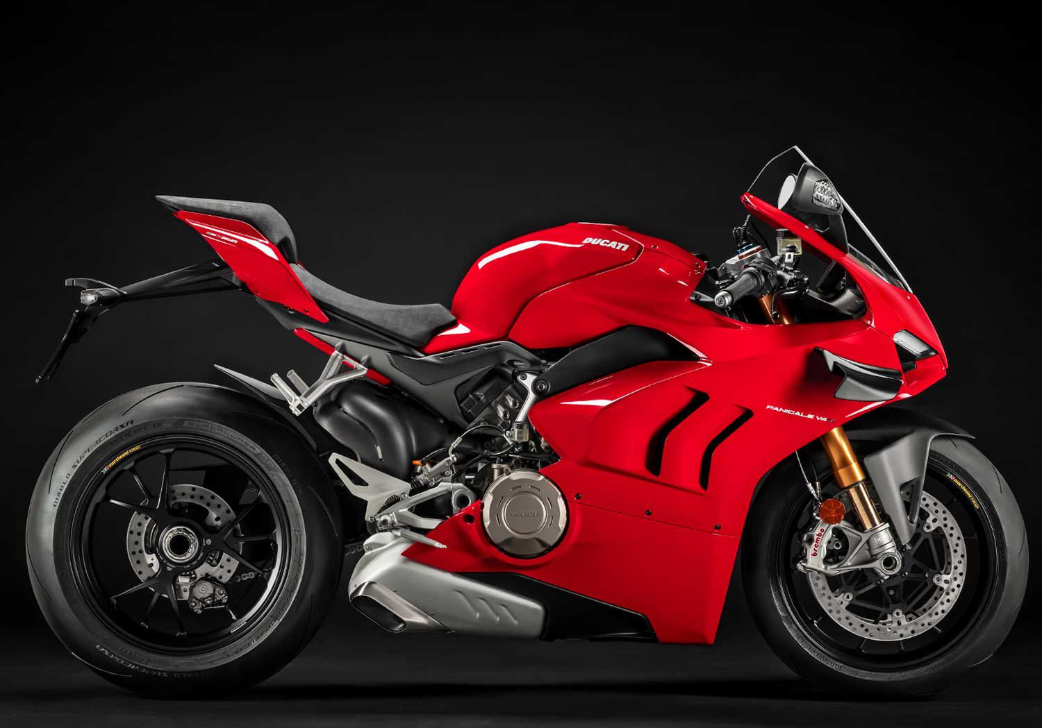 "Stylistically, Ducati's shark-like Panigale V4 S integrates sharp edges and flowing body sides for a strong, highly integrated look. Even the ""gills"" are functional."
