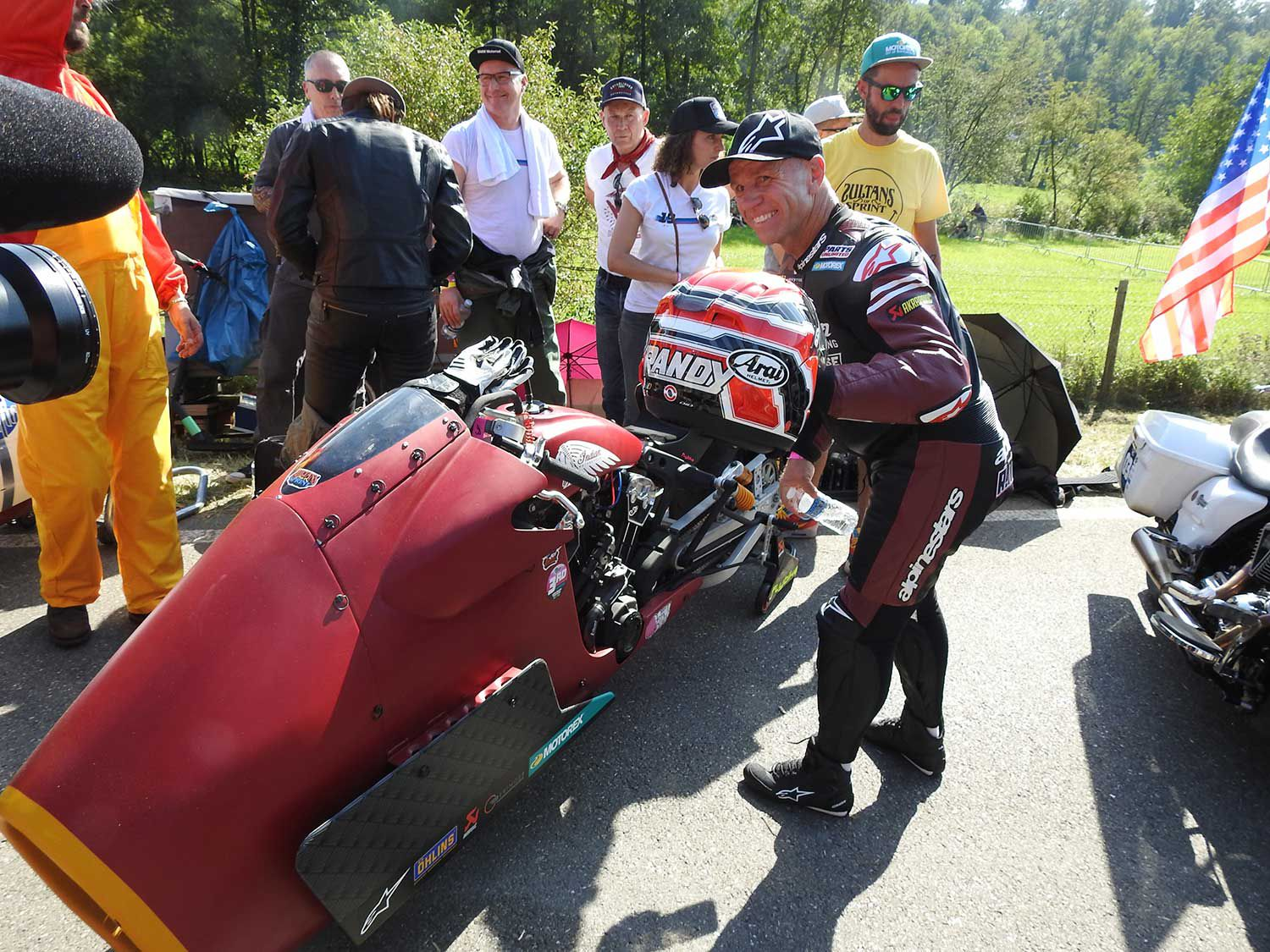 """Randy Mamola on the Indian """"Appaloosa"""" getting ready for his first race against a supercharged Harley at the Indian Sprints."""