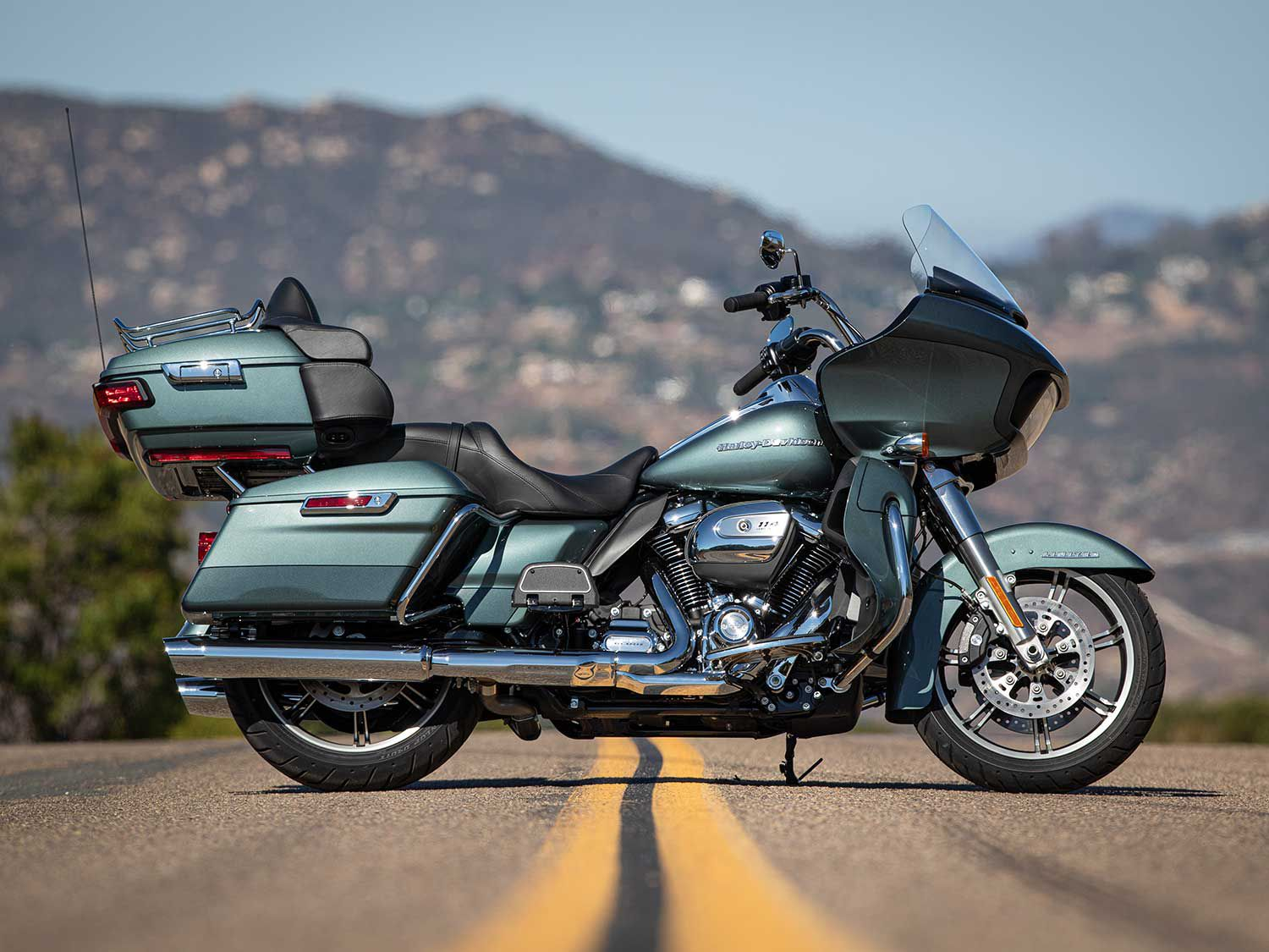 2020 Harley-Davidson Road Glide Limited in two-tone Silver Pine and Spruce.