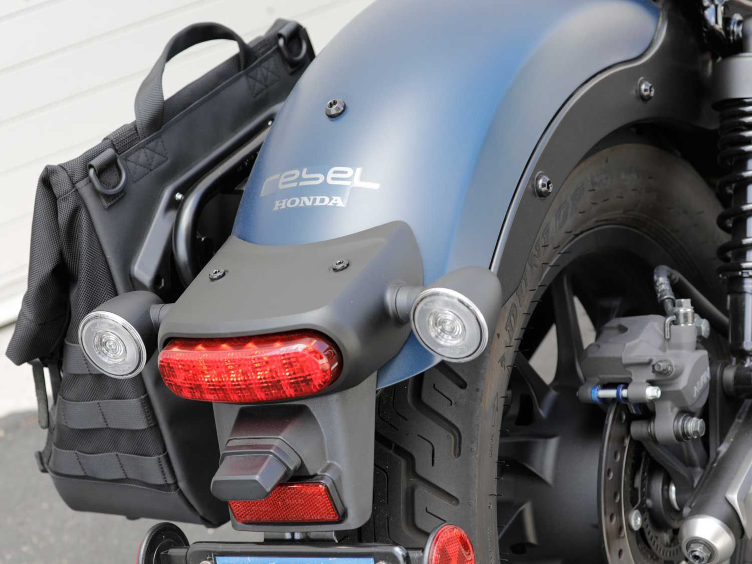 The Honda Rebel 500 ABS is outfitted with full LED lighting which helps it stand out on the road. We like the attention to detail, including the round-shaped turn signals.
