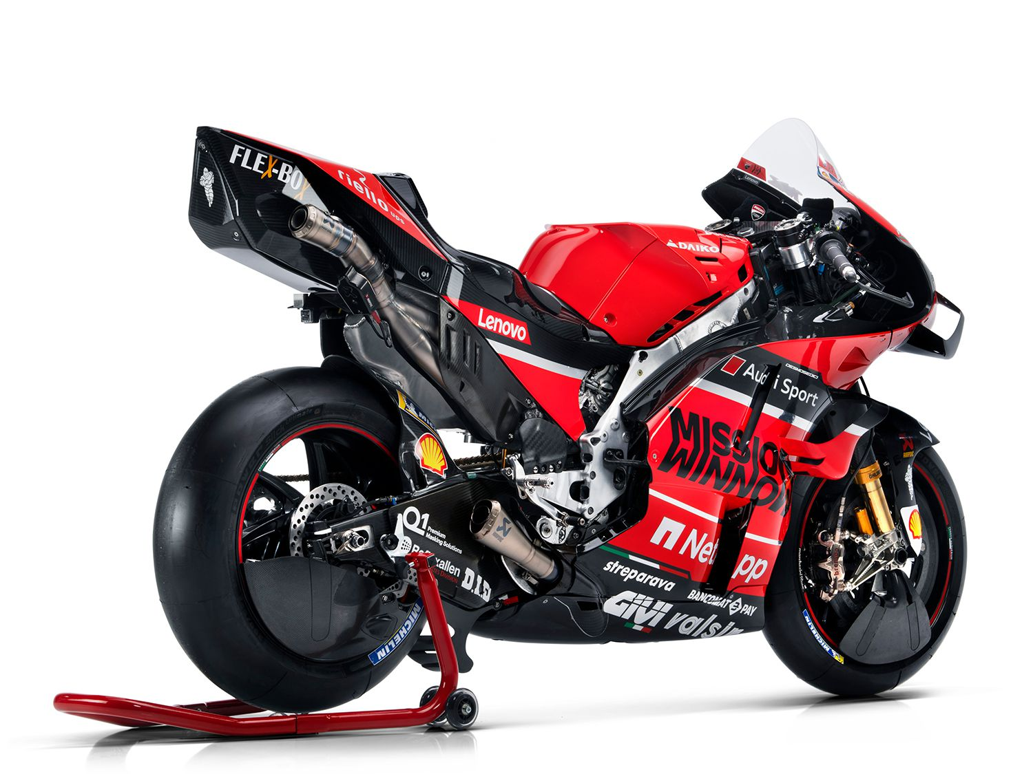 Take a close look at the Mission Winnow Desmosedici GP20. Notice the massive winglets, the lower aerodynamic shielding on the wheels, and the peculiar shape of the tailsection that are all designed to help the Desmo continue to be one of the fastest motorcycles on the GP grid.