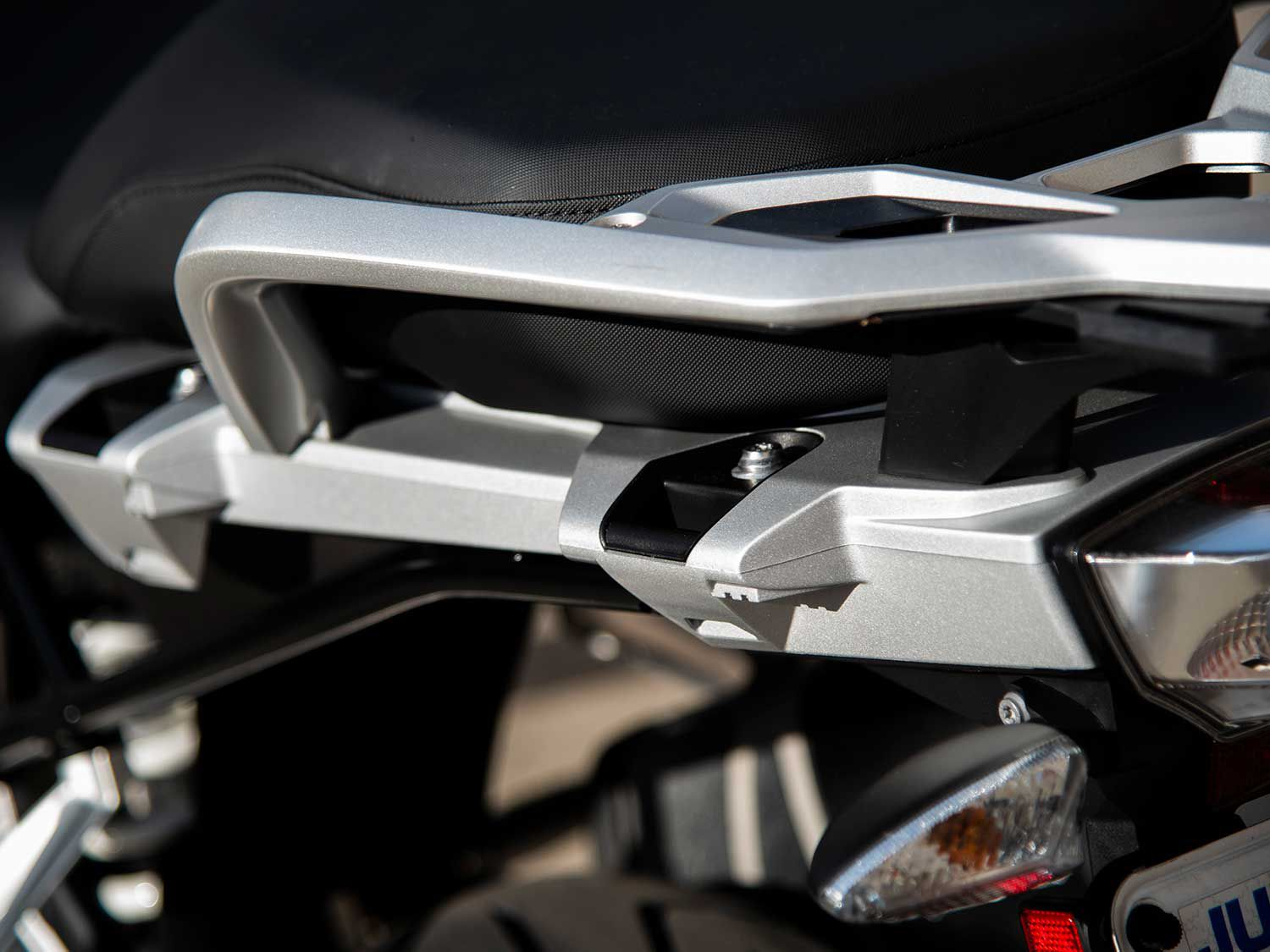 Available saddlebags snap into an otherwise discreetly styled rear subframe.