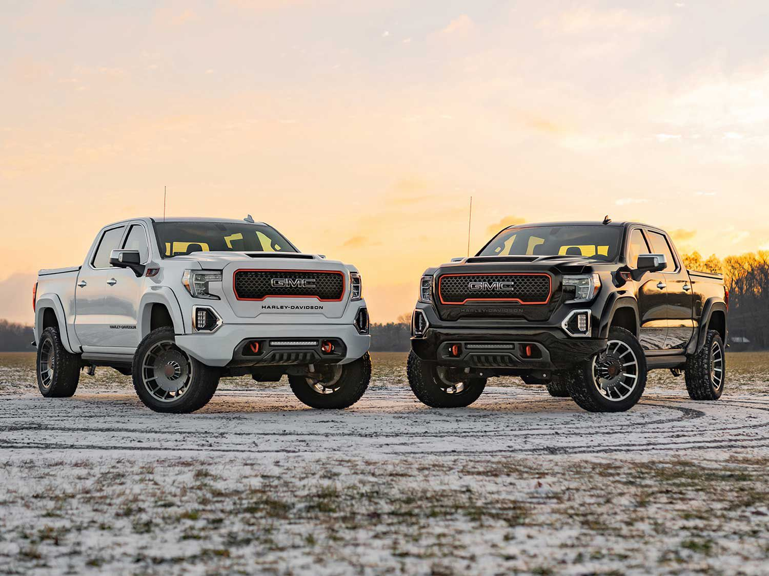 The 2020 Harley-Davidson Limited-Edition GMC Sierra is built by longtime H-D collaborators from the Tuscany Motor Co. with an MSRP of $94,995. It will be available in either Summit White or Onyx Black versions.