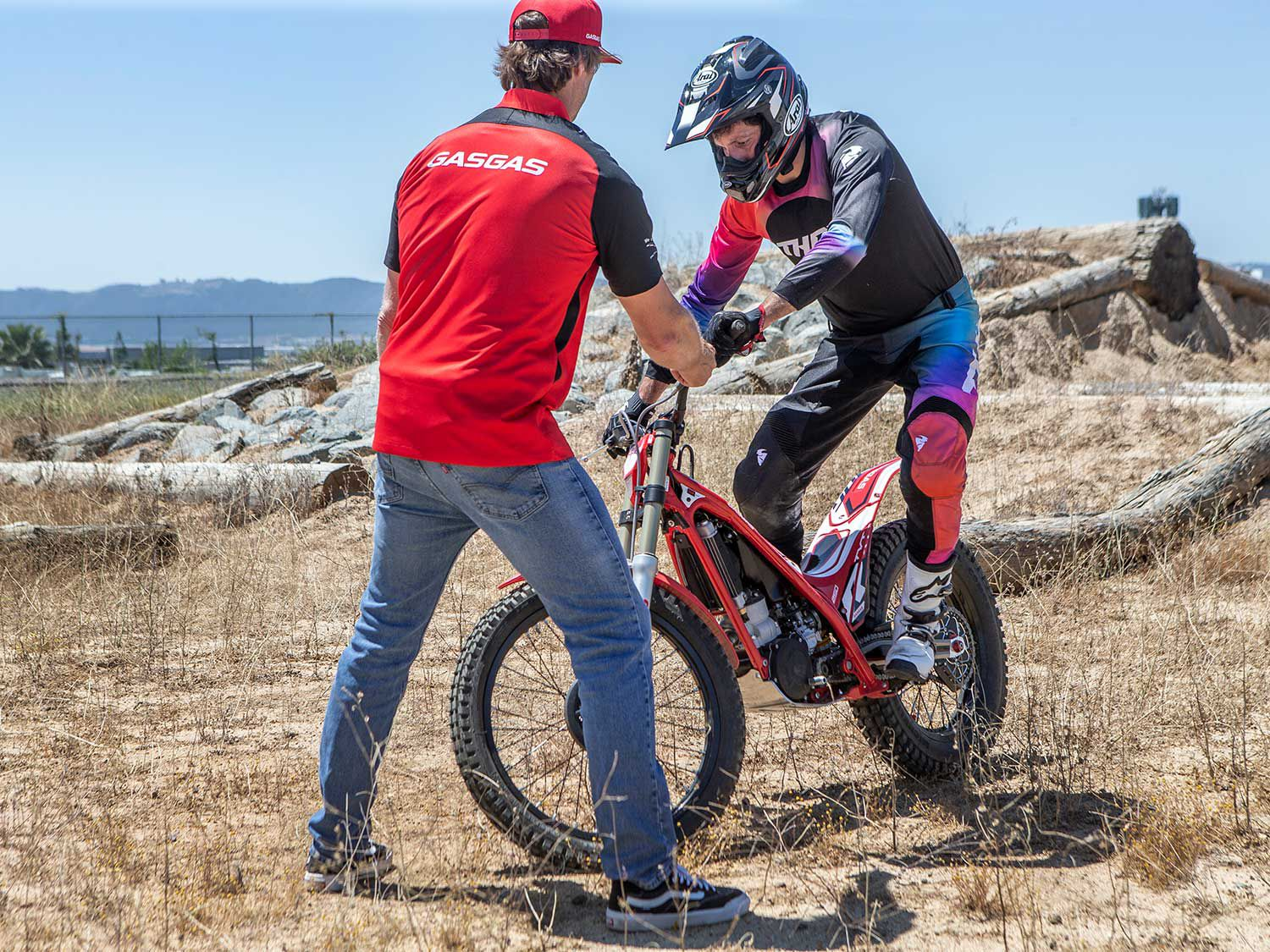 The riding stance on a trials bike is much different than a traditional off-road motorcycle. A more mountain bike-like stance applies to trials.